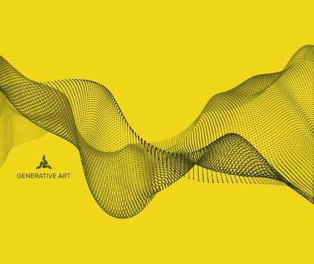 banner effect: Wavy background for banner, flyer, book cover, poster. Dynamic effect. 3d perspective grid. Abstract vector illustration with dots. Network design with particle. Illustration