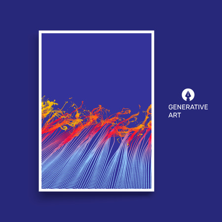 cover art: Water Splash Imitation. Array with Dynamic Emitted Particles. Textbook, booklet or notebook mockup. Business brochure. Cover design template. Generative art. Vector Illustration. Illustration