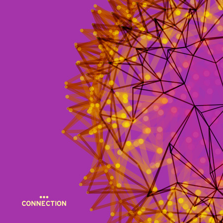 Scientific illustration with connected lines and dots. Luminous microscopic forms. Glowing grid. Connection structure. Wireframe vector illustration. Illustration