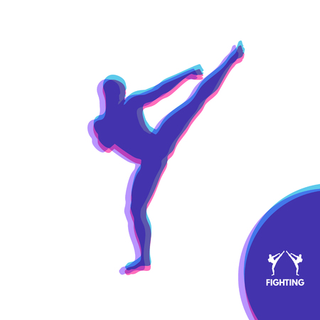 execute: Kickbox fighter preparing to execute a high kick. Silhouette of a fighting man. Design template for Sport. Emblem for training. Vector Illustration. Illustration