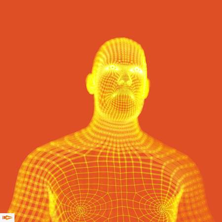 Human torso on orange background. Head of the Person from a 3d Grid. Vector Illustration. Can be used for avatar, science, technology. Illustration