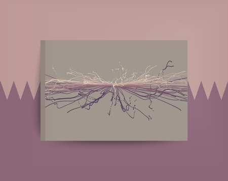 notebook cover: Point Explode. Array with Dynamic Emitted Particles. Textbook, booklet or notebook mockup. Business brochure. Cover design template. Generative art. Vector Illustration.
