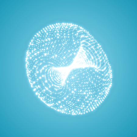 The Torus Consisting of Points. Connection Structure. 3D Grid Design. Technology Style. Molecular Lattice. Vector Illustration.