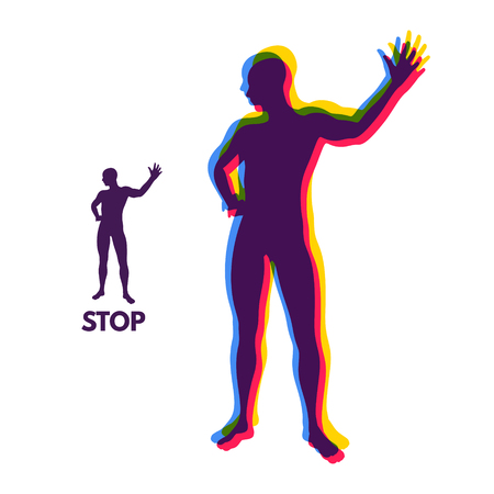 control of body movement: Vector man with hand up to stop. Human showing stop gesture. Silhouette of a standing man. Vector illustration.