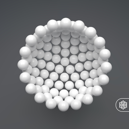 Molecular structure with spherical particles. Scientific background. Connection structure. 3D vector illustration for design.