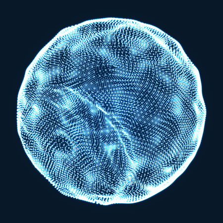 globe grid: The Sphere Consisting of Points. Abstract Globe Grid. Sphere Illustration. 3D Grid Design. Technology Concept. Vector Illustration. Illustration