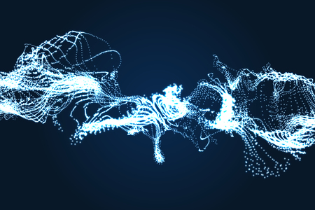gaz: Array with Dynamic Particles. Wavy Background. Composition with Motion Effect. Abstract Vector illustration.