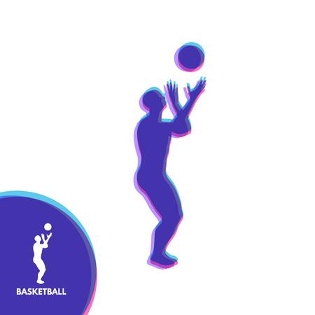 symbol sport: Basketball player with ball. Sport Symbol. Design Element. Vector Illustration.