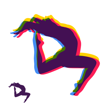 Gymnast. Silhouette of a Dancer. Gymnastics Activities for Icon Health and Fitness Community. Sport Symbol. Vector Illustration.
