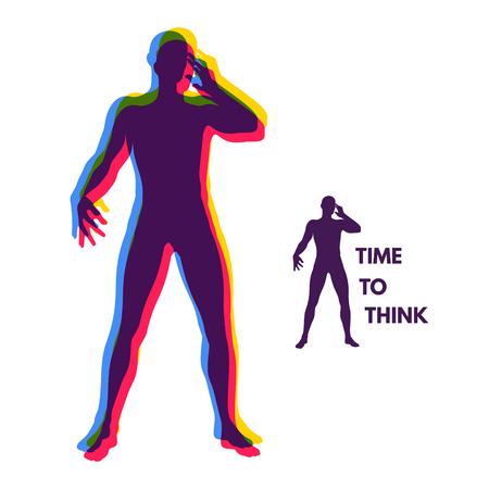 brain illustration: Thinking man. Silhouette of a standing man. Idea concept vector illustration.