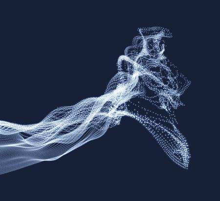 Tableau avec des particules dynamiques émises. Imitation d'éclaboussure d'eau. Modèle abstrait. Illustration vectorielle