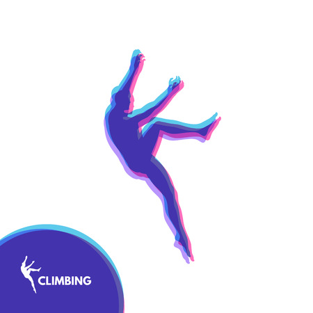 Rock climber silhouettes. Bouldering sport. Vector illustration for design.
