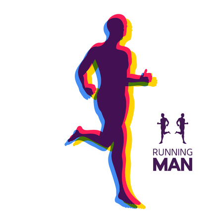 Silhouette of a running man. Design for Sport. Emblem for marathon and jogging. Vector Illustration. Illustration