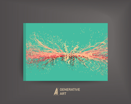 generative: Point Explode. Array with Dynamic Emitted Particles. Textbook, booklet or notebook mockup. Business brochure. Cover design template. Generative art. Vector Illustration.