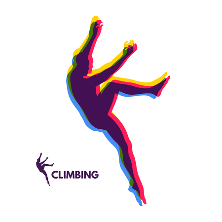 mountaineering: Rock climber silhouettes. Bouldering sport. Vector illustration for design.