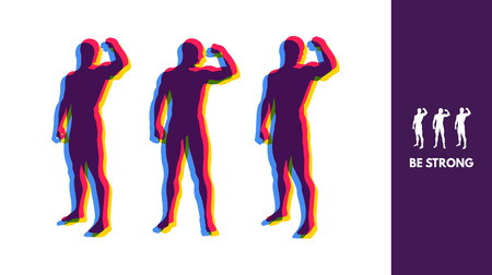 Silhouette of a strong men. Sport Symbol. Vector ilustration for design.