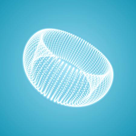 Torus. Connection structure. 3D grid design. Technology style. Vector illustration.