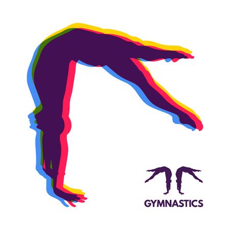 Gymnaste. Silhouette d'un danseur. Symbole sportif. Illustration vectorielle. Banque d'images - 76591867