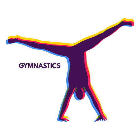 exercise silhouette: Sporty man doing handstand exercise. Gymnast. Silhouette of a Dancer. Gymnastics Activities for Icon Health and Fitness Community. Sport Symbol. Vector Illustration.