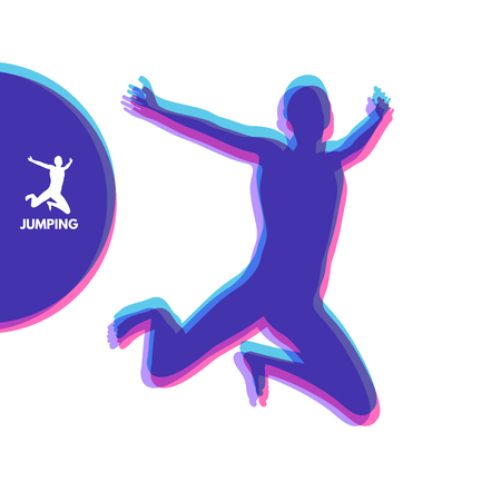 Silhouette of a jumping man. Design template for Sport. Vector Illustration. Illustration