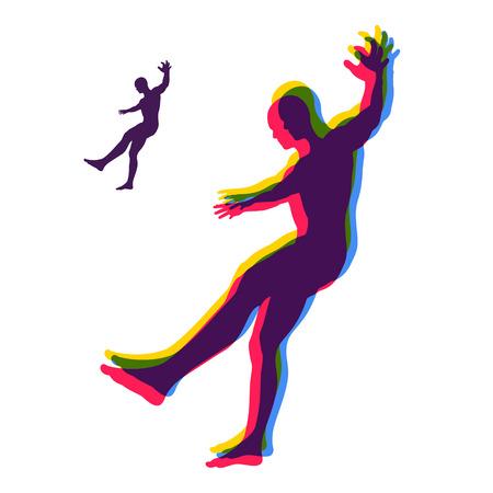 caida libre: Persona resbalando y cayendo. Silueta de un hombre caído hacia abajo. Ilustración vectorial.