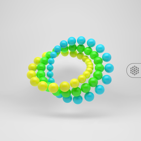 atomic symbol: 3d Spheres Composition. Vector Template. Futuristic Technology Style. Art Design Element.