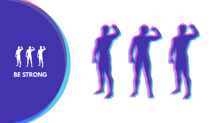 cuerpo hombre: Silhouette of a strong men. Sport Symbol. Vector ilustration for design.