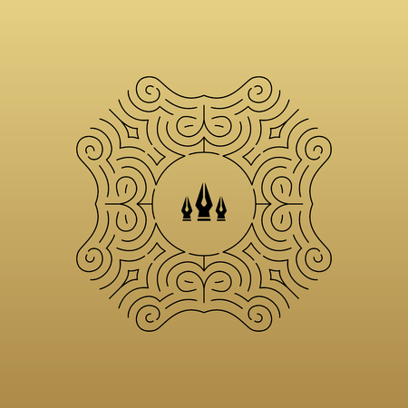 nib: Ornament decoration framewith elegant element for design, place for text. Retro style for invitations, banners, posters, placards and Bpadges. Ethnic circle element vector fashion illustration.