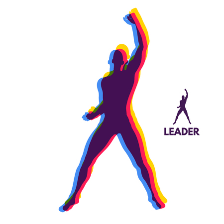 Leadership concept. Standing Man. Human with arm up. Silhouette for sport championship.