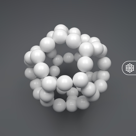 Molecular structure with spheres. 3d vector Illustration. Illustration