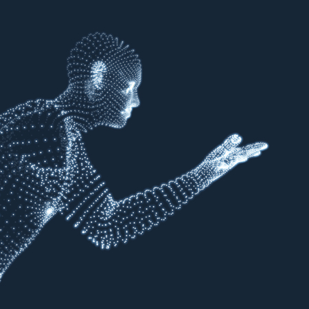 Man Points to Something by Hand. 3D Model of Man. Geometric Design. Vector Illustration. Illustration