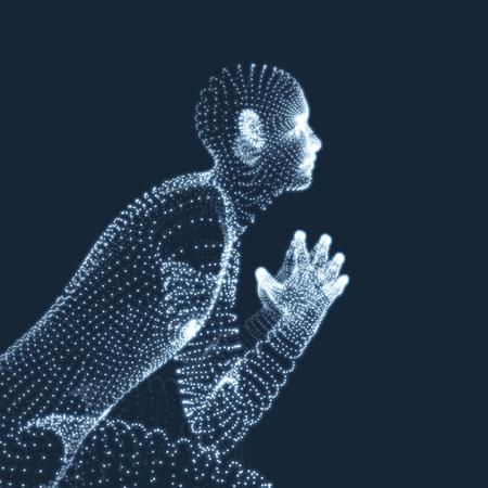 Mann in einem Denker-Pose. 3D-Modell des Menschen. Wirtschaft, Wissenschaft, Psychologie oder Philosophie Vektor-Illustration. Standard-Bild - 76954929