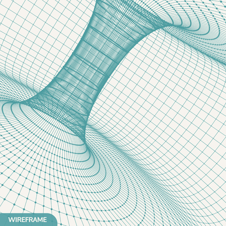 Abstract tunnel grid. 3d vector illustration. Can be used as digital dynamic wallpaper, technology background.