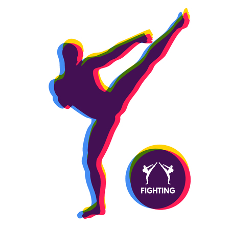 Kickbox fighter preparing to execute a high kick. Silhouette of a fighting man. Design template for Sport. Emblem for training. Vector Illustration. Illustration