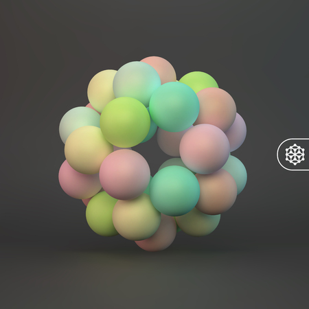 Abstract molecular structure with particles. Scientific background. Connection structure. 3D vector illustration for design.