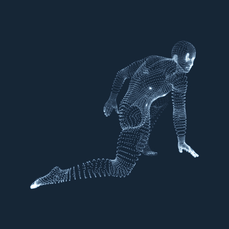 Athlete at Starting Position Ready to Start a Race. Runner Ready for Sports Exercise. Human Body Wire Model. Sport Symbol. 3d Vector Illustration.
