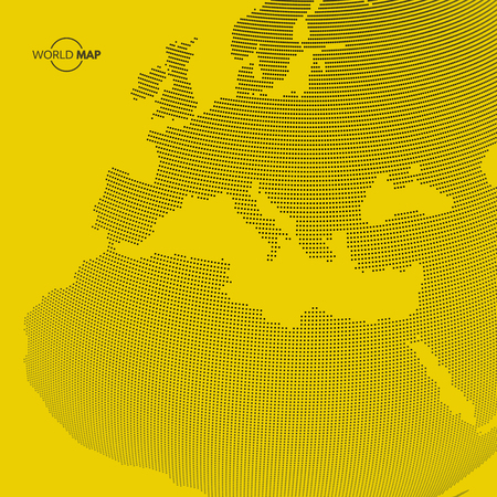 global design: Africa and Europe. Vector map of the world. Global business marketing concept. Dotted style. Design for education, science, web presentations.