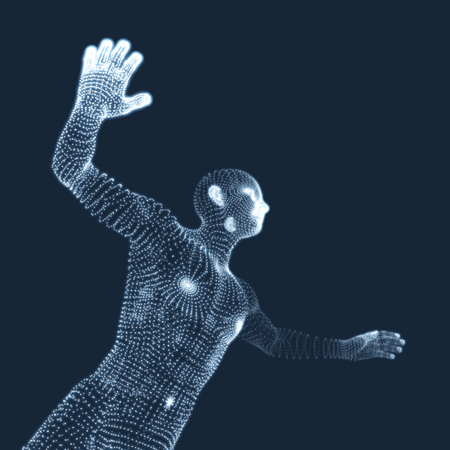Vector man with hand up to stop. Human showing stop gesture. 3D model of man. 3D vector illustration.