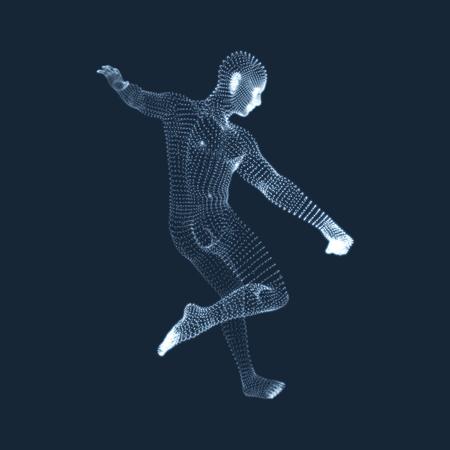 Piłkarz z cząstek. Pojęcie sportu. Model 3D człowieka. Ludzkie ciało. Symbol Sportowy. Element projektu. Ilustracja wektorowa. Ilustracje wektorowe