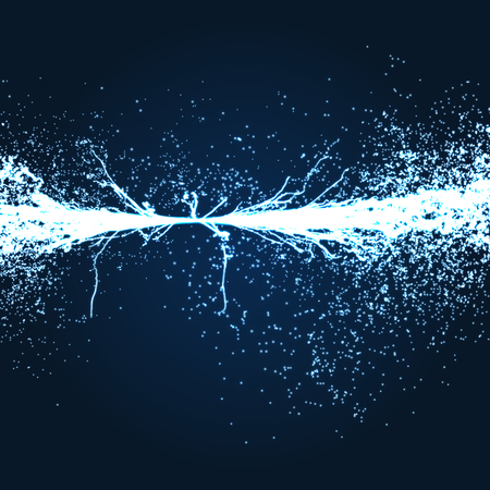 flux: Electricity lighting effects. Array with Dynamic Particles. 3d Futuristic technology style. Abstract Background. Glowing points. Vector Illustration.