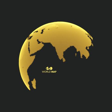 Eurazja. Kuli ziemskiej. Globalna koncepcja marketingu biznesowego. Kropkowany styl. Projekt dla edukacji, nauki, prezentacji internetowych.