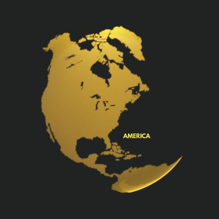 global design: North and South America. Earth globe. Global business marketing concept. Dotted style. Design for education, science, web presentations. Illustration