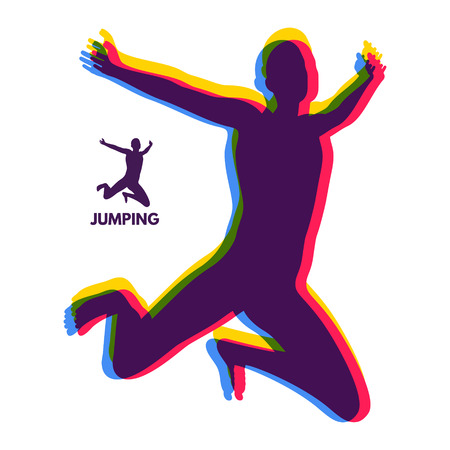 Silhouette of a jumping man. Design template for Sport. Vector Illustration. Çizim