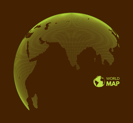 Eurasia. Earth globe. Global business marketing concept. Dotted style. Design for education, science, web presentations.