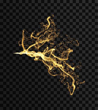 Flamme de feu. Splash imitation. Tableau avec des particules émises dynamiques. Modèle de conception de couverture. Illustration vectorielle avec point