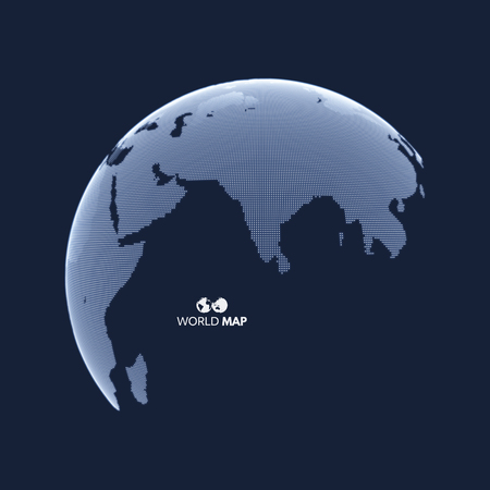 global design: Eurasia. Earth globe. Global business marketing concept. Dotted style. Design for education, science, web presentations.