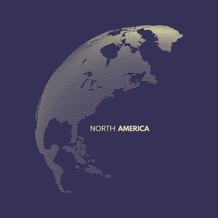 global design: North America. Earth globe. Global business marketing concept. Dotted style. Design for education, science, web presentations.