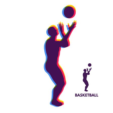 Basketball player with ball. Sport Symbol. Design Element. Vector Illustration.