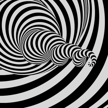 トンネル。抽象的な 3 D 幾何学的背景。黒と白のデザイン。目の錯覚のパターン。ベクトルの図。
