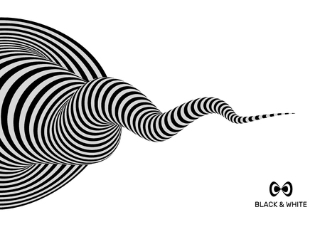 ripply: Tunnel. Abstract 3D geometrical background. Black and white design. Pattern with optical illusion. Vector illustration.